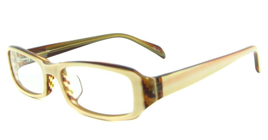 Khaki Acetate rectangular glasses frame YL-JB8100-C572