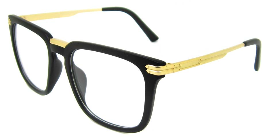 Matte black with gold oval blend retro frame YM-OF1219-C6