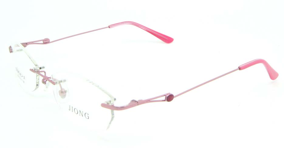 Pink cat eye metal rimless glasses frame  JNY-JIONG1199-F