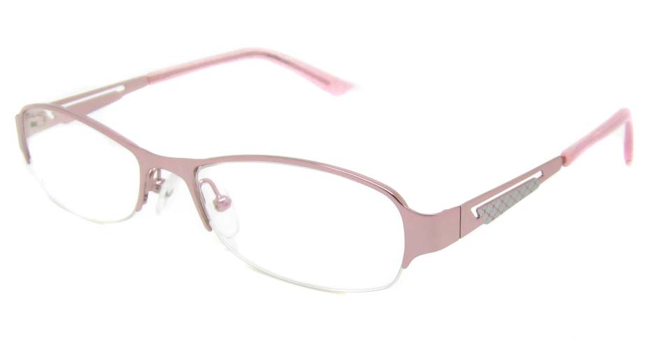Pink metal oval  glasses frame TD-CR2015-F