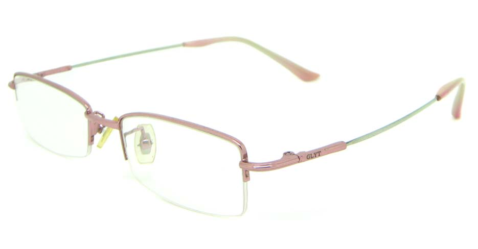 Pink metal oval glasses frame JS-SML9930-F
