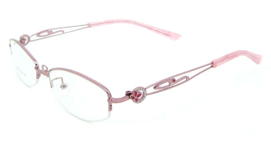Pink oval metal glasses frame JNY-SSYZ2149-F