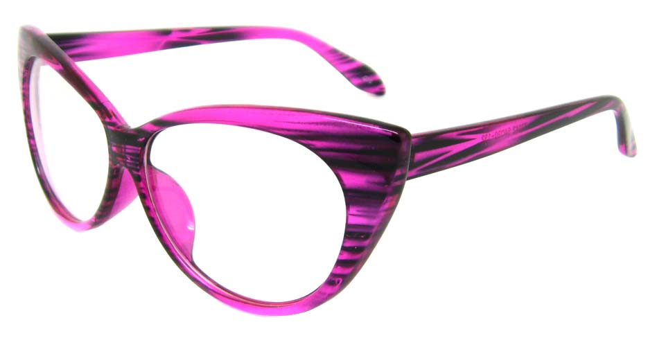 Purple  plastic cat eye retro frame BLK-MX77042-Z