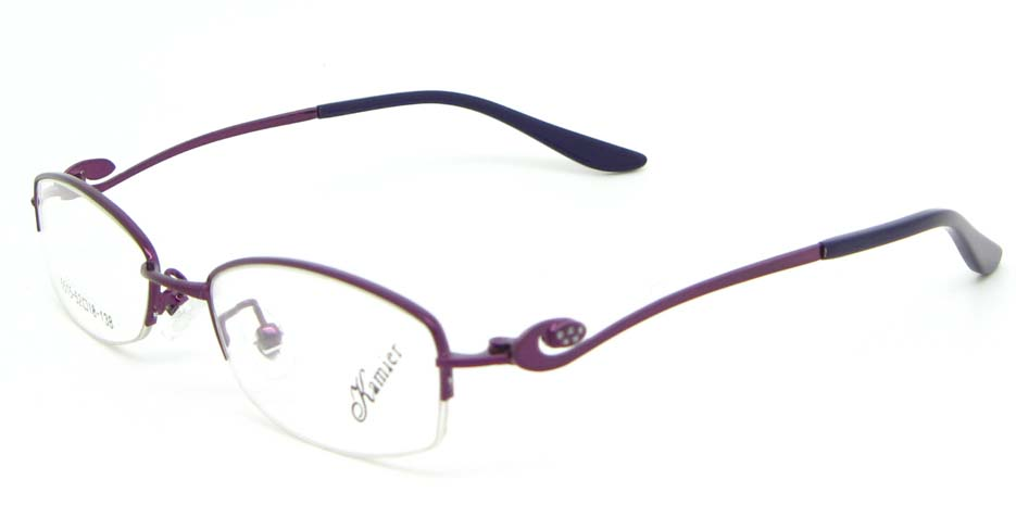 Purple metal oval glasses frame WKY-KM5515-Z