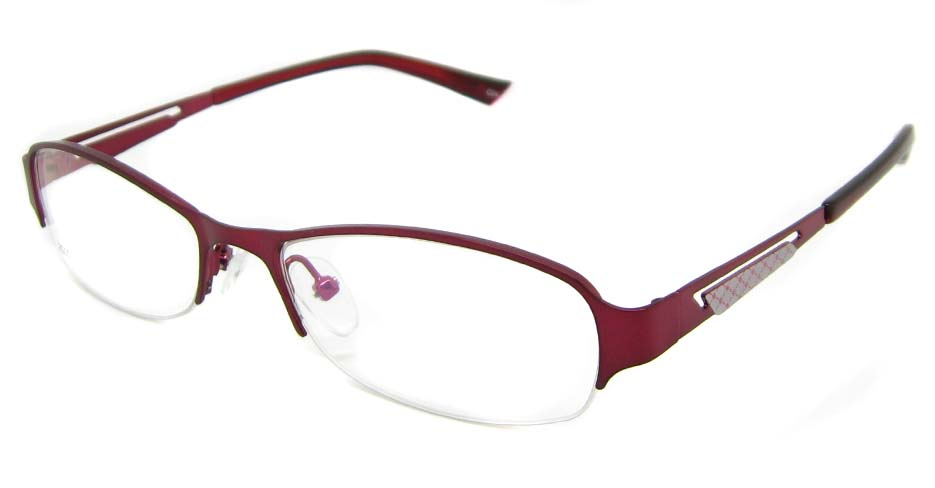 Red metal oval glasses frame TD-CR2015-H