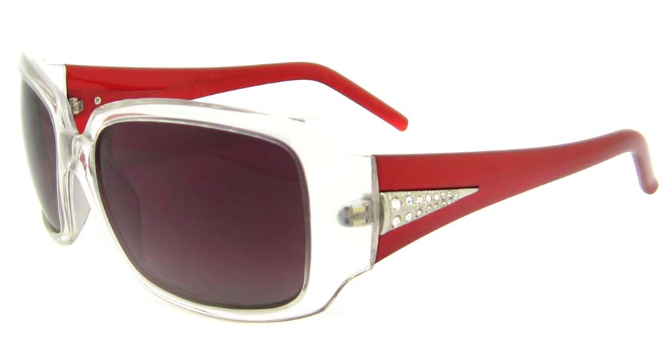 Red with White Plastic Oval glasses frame  XL-HB82001-C3