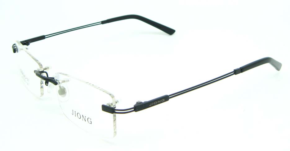 Rimless black rectangle metal glasses frame JNY-JIONG1105-HS