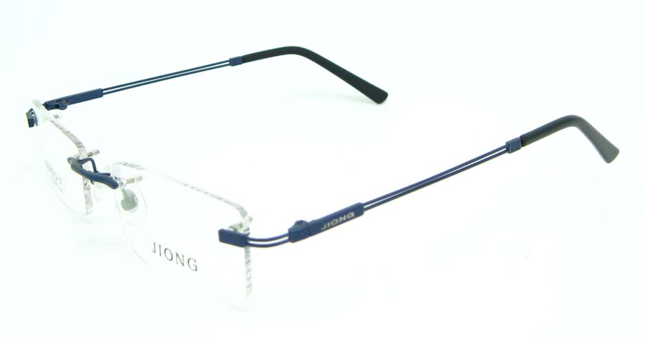 Rimless blue rectangle metal glasses frame JNY-JIONG1105-L