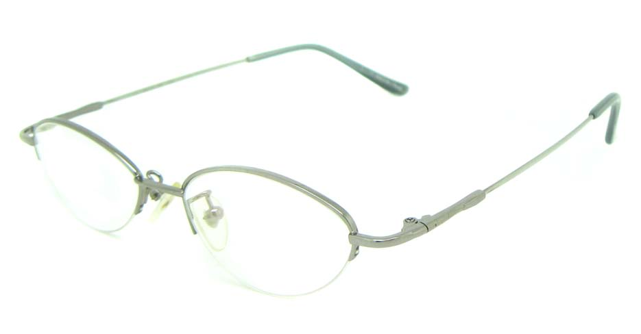 Silver metal oval glasses frame JS-LJS9915-Y