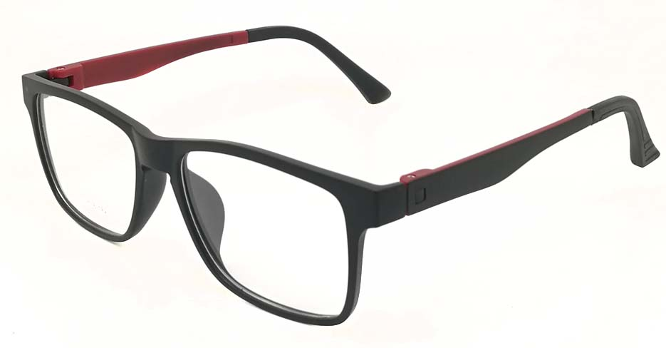 TR Oval Black with Red Polarized  Magnetic Clip on Sunglasses SM-2032-C6