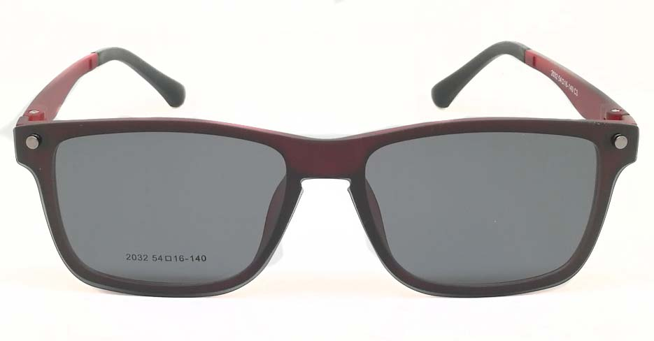TR Oval Red Polarized  Magnetic Clip on Sunglasses SM-2032-C3
