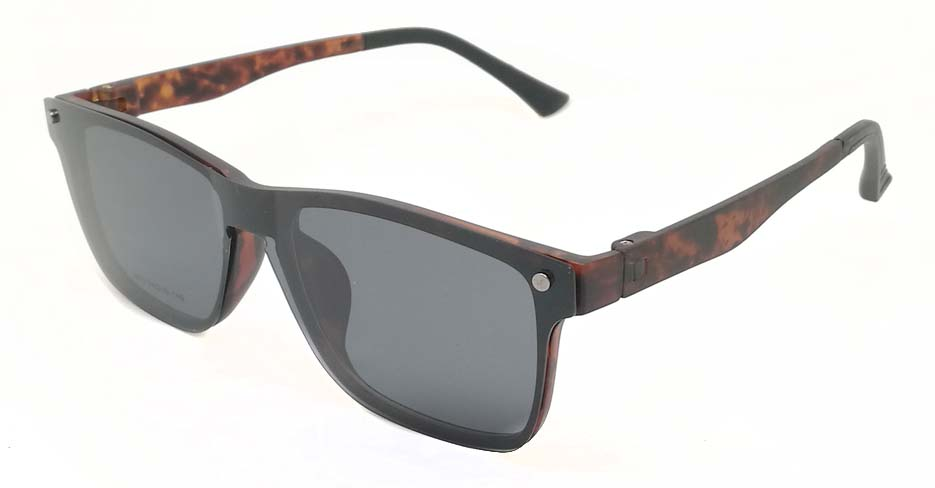 TR Oval Tortoise Polarized  Magnetic Clip on Sunglasses SM-2032-C4