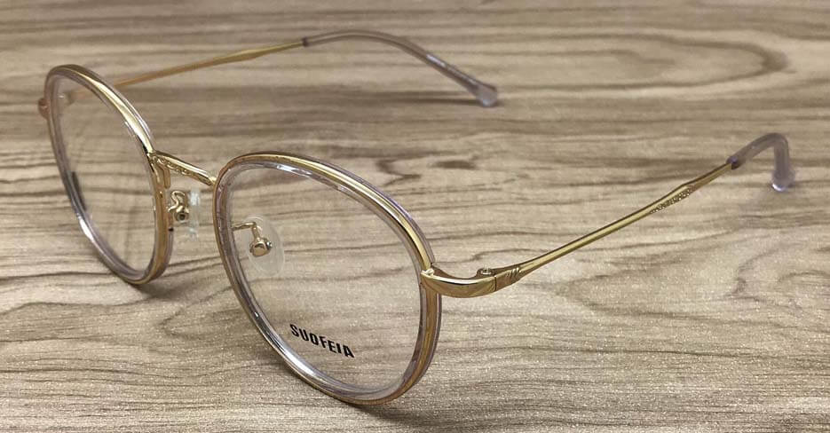TR metal blend gold round clear glasses frame SFY944-C3