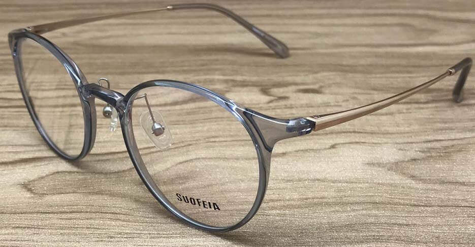TR metal blend grey clear glasses frame SFY-969-C13