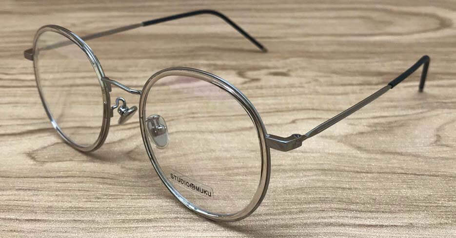 TR metal grey round clear glasses frame MK-1718041-C5