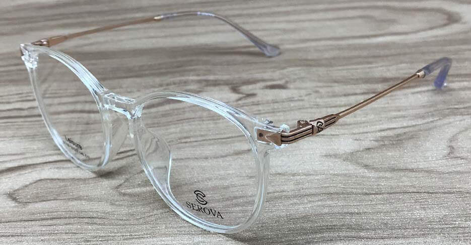 TR metal round gold clear glasses frame SLH-105-C11
