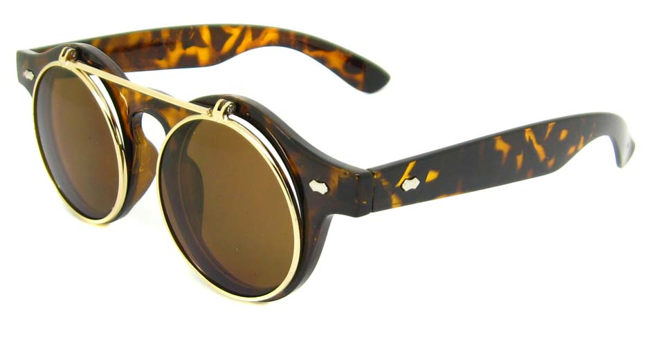Tortoise blend retro round    sunglasses   YM-OF1849-GWS