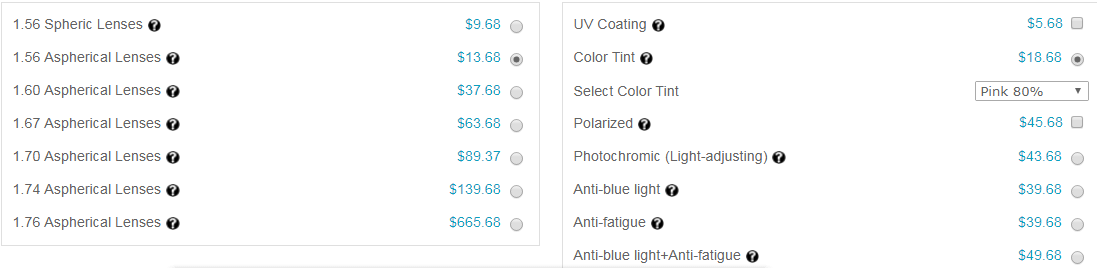 add color tinted to lenses