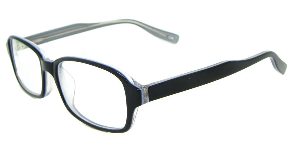black Acetate rectangular glasses frame WKY-BL6169-C36