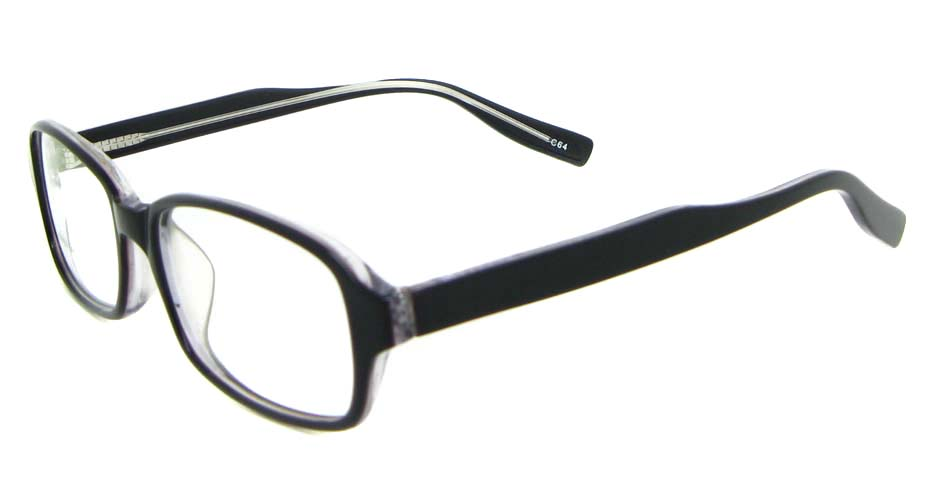 black Acetate rectangular glasses frame WKY-BL6169-C64