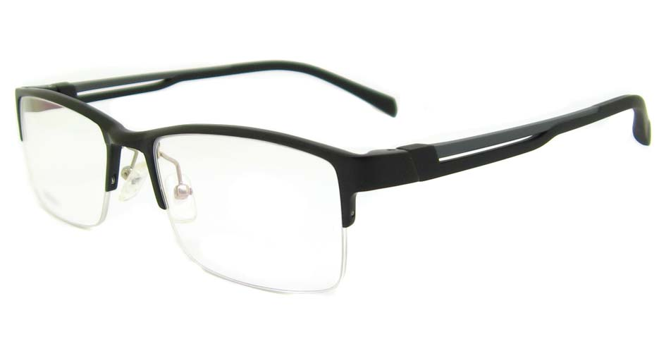 black half frame glasses