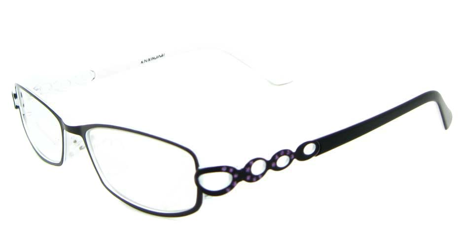 black metal oval glasses frame WKY-KNXJ6225-HS