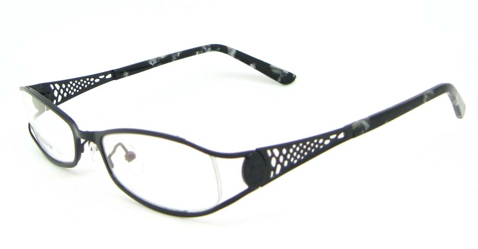 black metal oval glasses frame WKY-XDBL508-HS