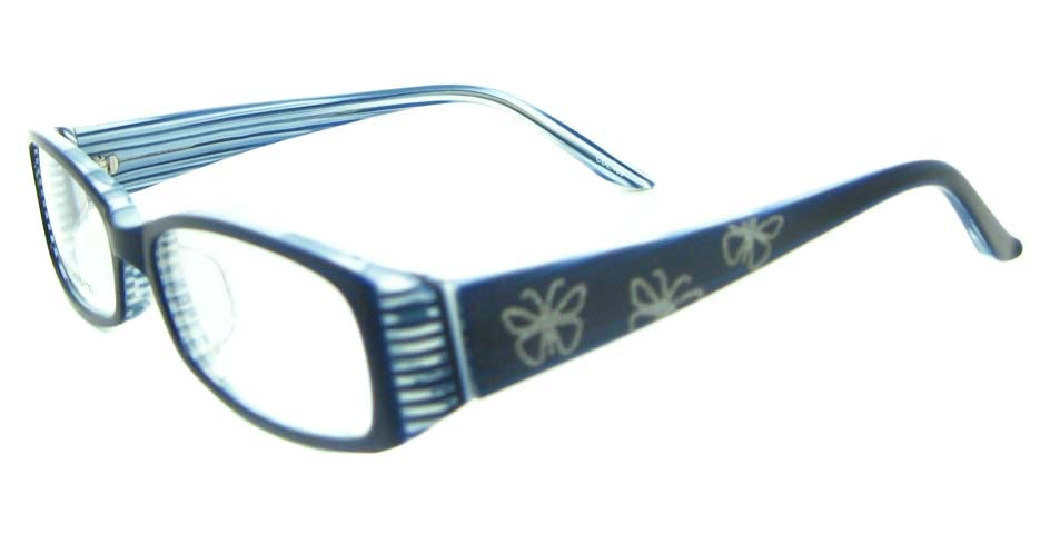 black with blue Rectangular  Plastic glasses frame YL-JB8288-C489