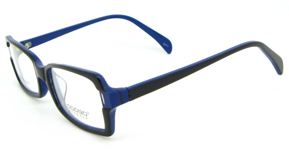 black with blue oval Acetate glasses frame WKY-BL6184-C153