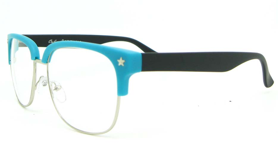black with blue retro blend Oval glasses frame WLH-OF1831-C7