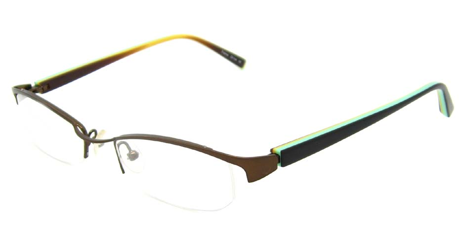 black with brown oval blend glasses frame HL-SIL129601-ZS