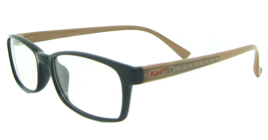black with brown tr90 rectangular glasses frame YL-KLD8004-C7