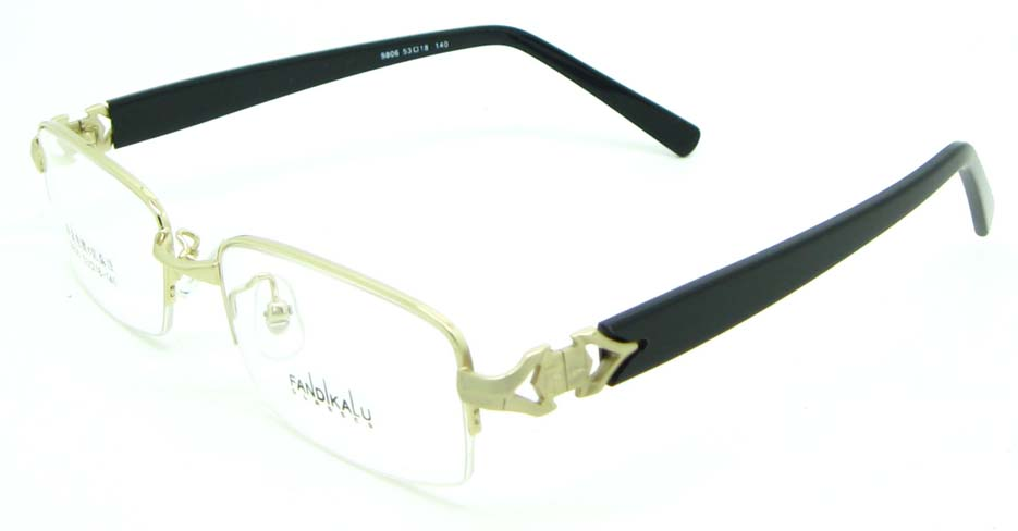 black with gold blend Rectangular glasses frame JNY-FKL9806-J