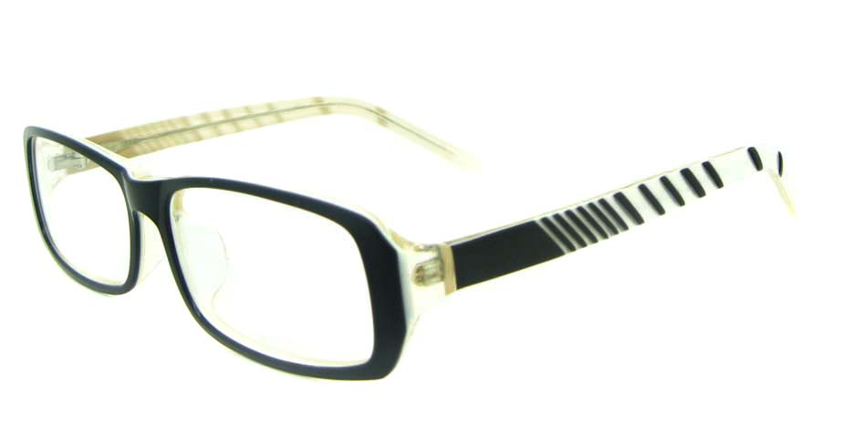 black with khaiki and white plastic rectangular glasses frame YL-JB8318-C542
