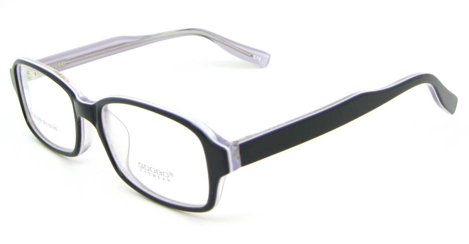 black with khaki Acetate rectangular glasses frame WKY-BL6169-C78