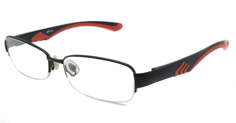 black with red blend Rectangular sport glasses frame LT-A040-C3