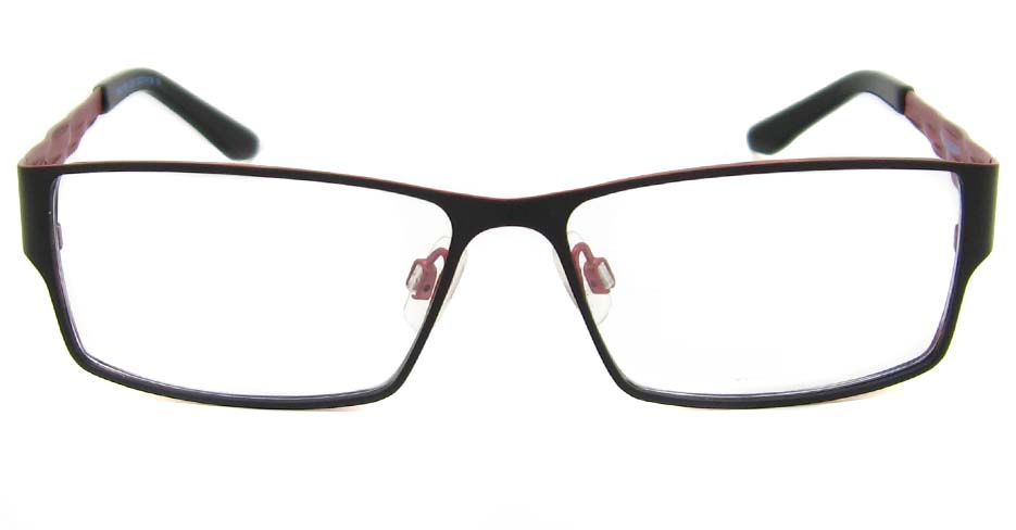 black with red blend rectangular  glasses frame HD-BBO1326-C001