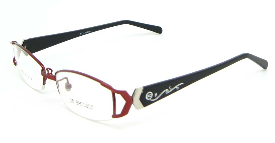black with red blend rectangular glasses frame WKY-XDBL6867-H