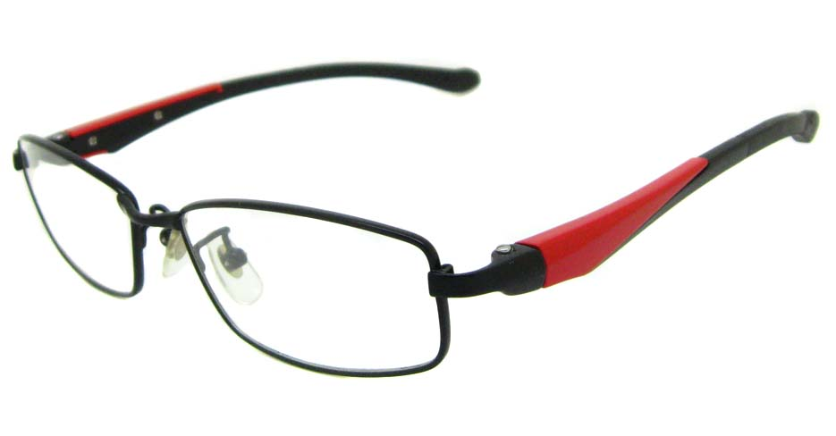 black with red metal and T&R blend sports oval glasses frame LT-G026JA-C1