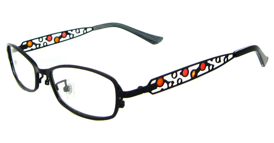 black with red metal oval  glasses frame  WKY-KM8881-HS