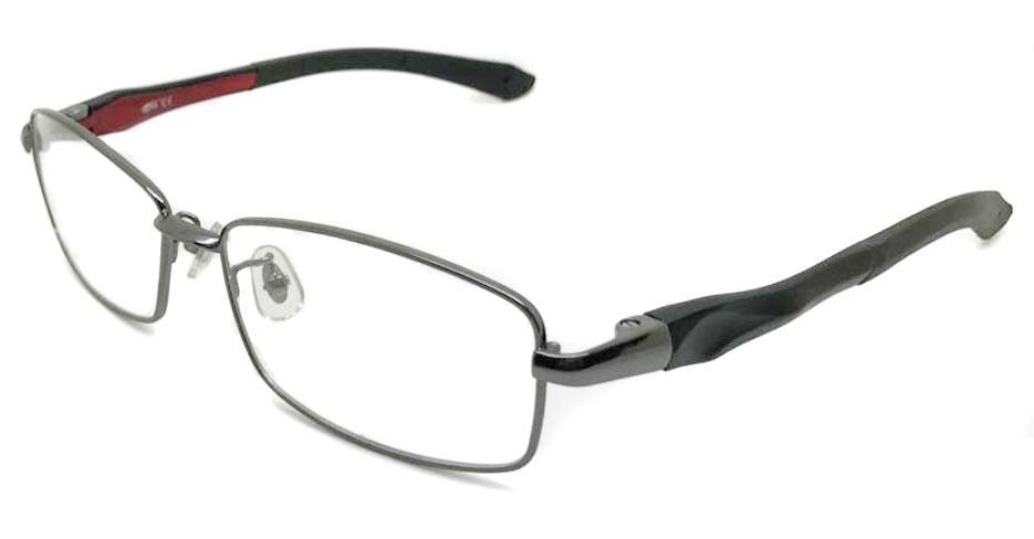 black with red metal sports Rectangular glasses frame LT-A187-C2