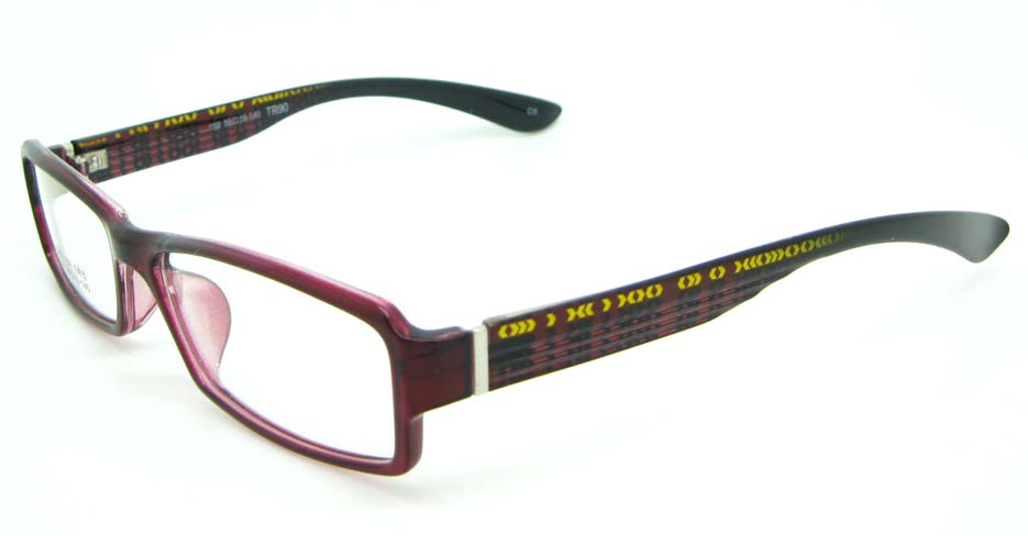 black with red tr90 Rectangular glasses frame JNY-MJN159-C5
