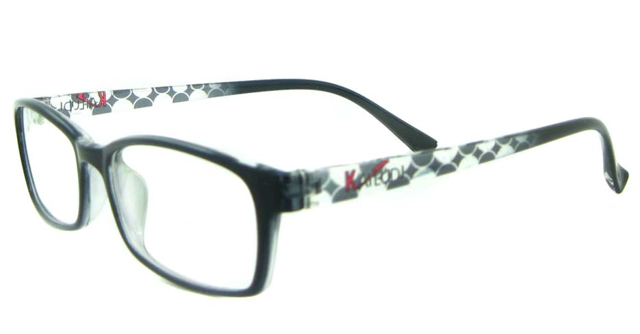 black with white tr90 rectangular glasses frame YL-KLD8004-C6
