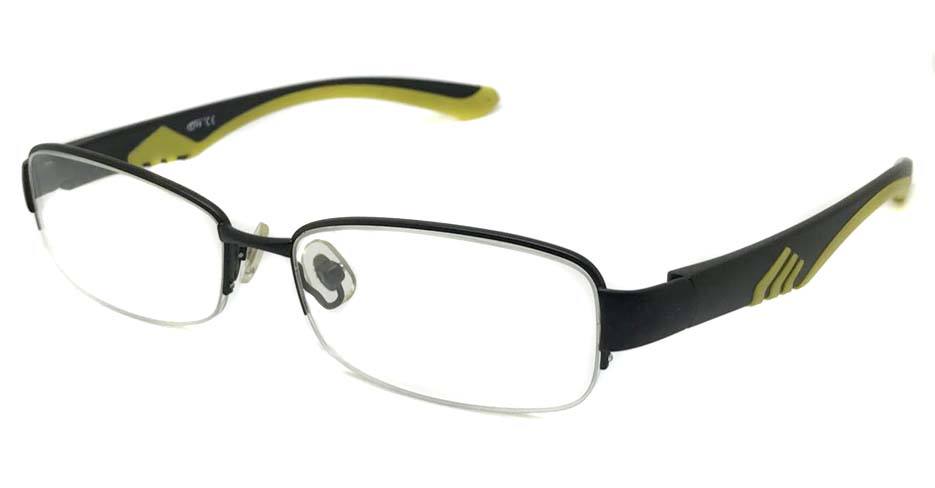 black with yellow blend Rectangular sport glasses