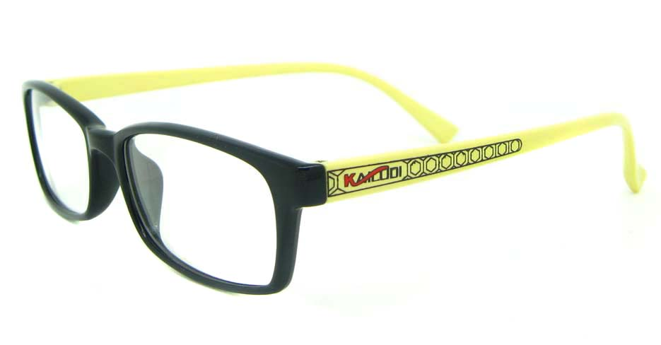 black with yellow tr90 rectangular glasses frame YL-KLD8004-C6HT