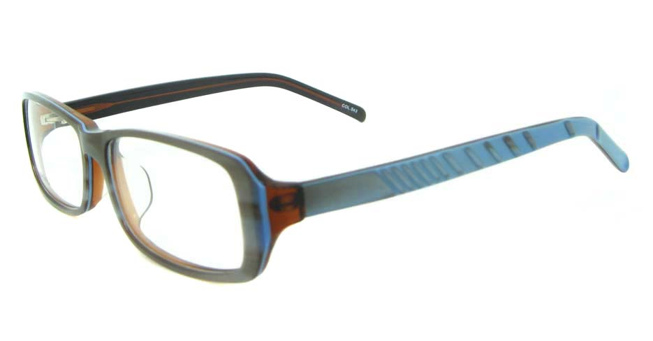 blue plastic rectangular glasses frame YL-JB8318-C543