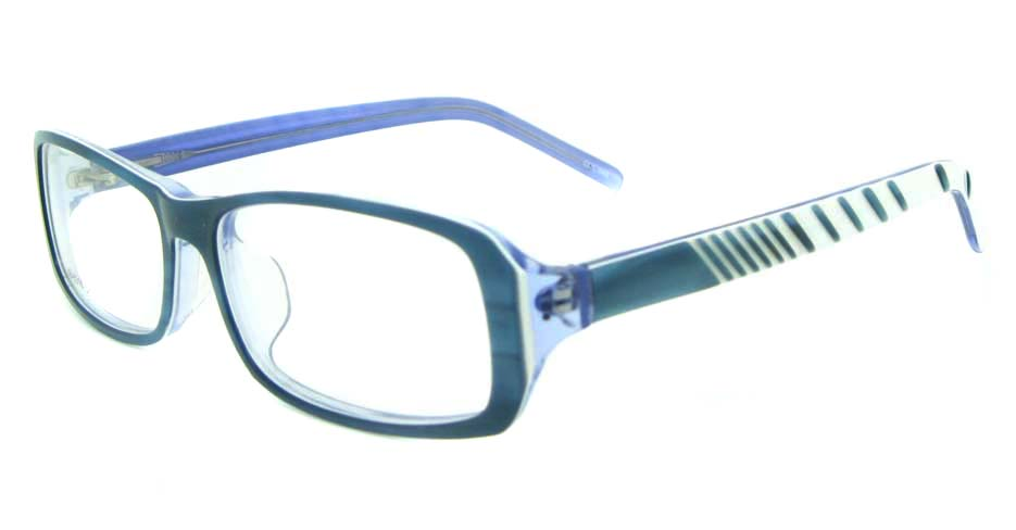 blue with white plastic rectangular glasses frame YL-JB8318-C544