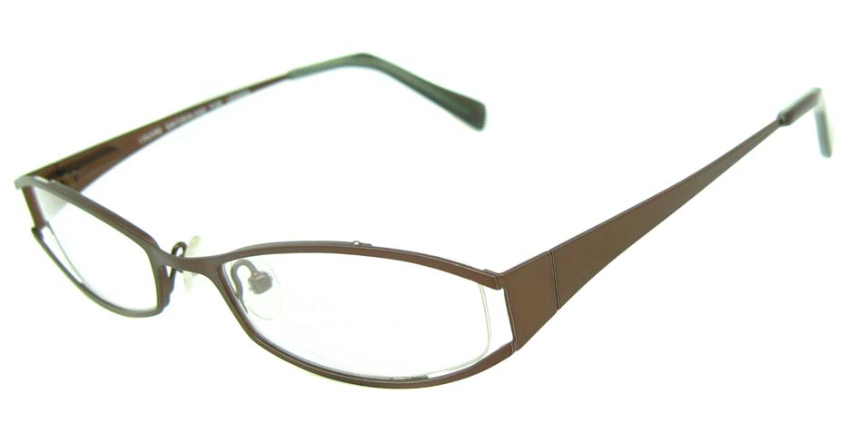 brown metal Oval glasses frame HL-313