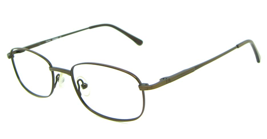brown metal oval glasses frame HL-PM55445-BR