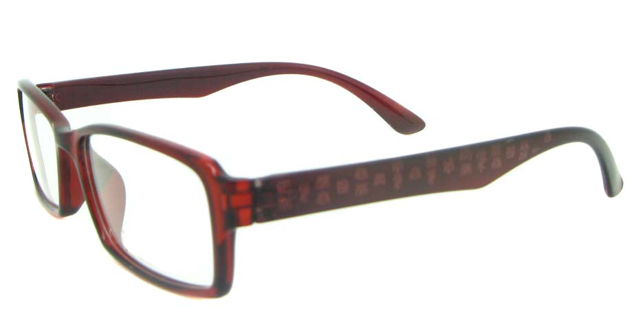brown with red Rectangular tr90 glasses frame YL-KLD8014-C5H